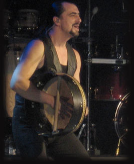 Ray Fean playing the bodhran, traditional Irish percussion instrument